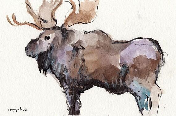 Original Moose Painting Animal Art Wildlife By Lloydgallery