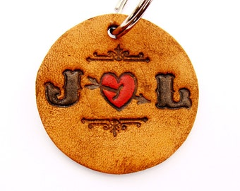 Personalized Keychain Leather Tattoo Letters In Love
