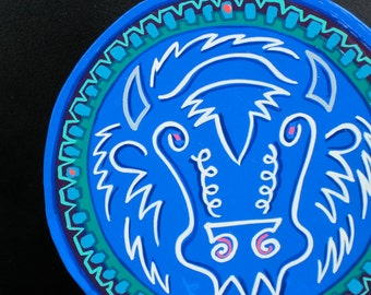 White Buffalo , stylized painting on circle magnet