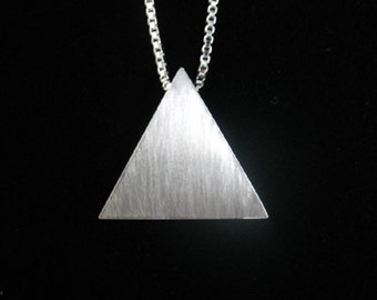 Sterling Silver Pyramid Pendant Necklace, 18 inch Sterling Silver Box Chain - Stevie Nicks Inspired, Handmade Triangle Pendant,