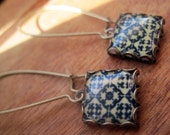 Moroccan World Traveler, Morocco North African tile design drop earrings, tribal jewelry, geometric jewelry, dangle earrings, MTO
