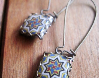 Arts & Crafts Mission style, Catalina Tile Drop earrings,  California Pottery design jewelry,  Boho jewelry, Gypsy jewelry