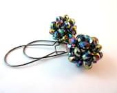 Beaded Bead Earrings. Oilslick Colors. Gunmetal.   Under 25, Gifts For Her