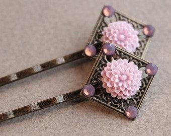 Antiqued Brass Hair Pins - One Pair - Flower - Swarovski Crystals - Lavender
