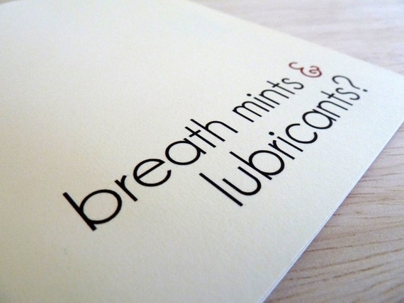 Funny Greeting Card - Breath Mints & Lubricants