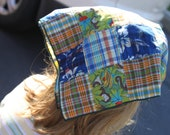 Monkey Plaid newest  bandana extended back no tie back cappuccino