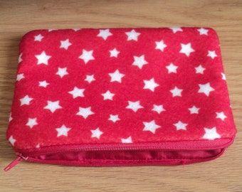 jingle white stars----felt med zippy pouch-- handproduced--(ship in1 day)