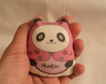 pandita russian art doll with message: hola --- (pink)--(ship in 1 day)