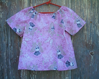 Size 6 Girls Pink Butterfly Skull Print Peasant Top