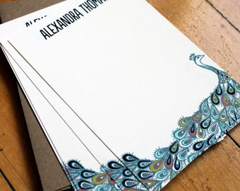Set of 10 personalized flat notes- Peacock in Teal