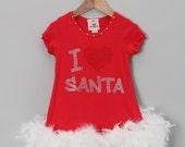 I LOVE Santa Rhinestone Feather Dress
