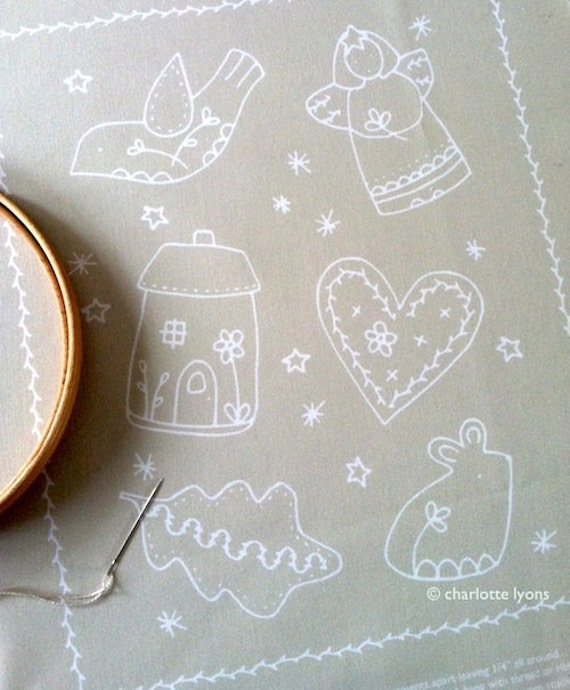 linen and white stitchable ornament sampler