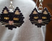 Black Cat with Sterling Whiskers Earrings