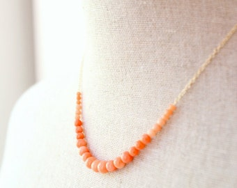 Coral Necklace, 14K GF Chain - Semi Precious Graduated Corals