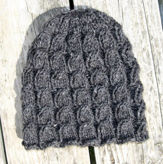 Gray Alpaca and Wool Hand knit Cabled Hat - large Woman or medium Man