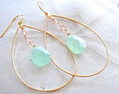Aqua Chalcedony Gold Hoop Earrings. Gemstone Earrings. Pink Swarovski Crystals. Bridesmaids Earrings.
