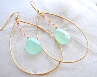 Aqua Chalcedony Gold Hoop Earrings. Gemstone Earrings. Pink Swarovski Crystals. Bridesmaids Earrings.