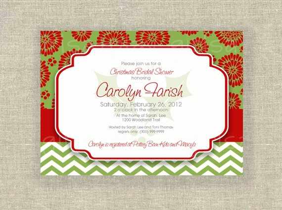 Items similar to christmas holiday bridal shower invitation holly items similar to christmas holiday bridal shower invitation holly chevron red green digital by girlsatplay girls at play on etsy filmwisefo Image collections