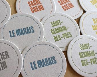 PARIS Letterpress Neighborhood Coasters (Pack of 10)