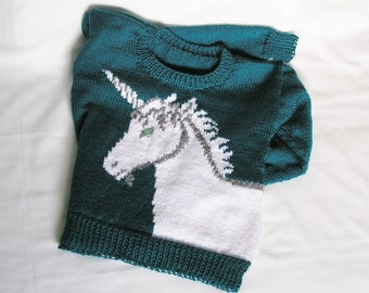 MADE TO ORDER Womens Unicorn Sweater Knitted. Custom Color & Size