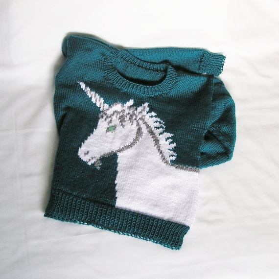 Knitting Patterns For Unicorns : MADE TO ORDER Womens Unicorn Sweater Knitted. by knitwit4ever
