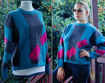 NEW WAVE 1980's Vintage Teal Blue Gray & Pink Wool Geometric Sweater size Medium