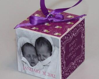 Baby's First Christmas Wooden Block Ornament Purple Snowmen