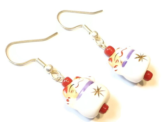 Porcelain Neko Cat Earrings -- Star Belly Sneetch --  Lucky Cat Jewellery