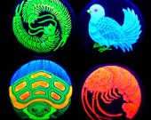 Blacklight Art Japanese Dove Tortoise Centipedes and Lobster Pinback Buttons