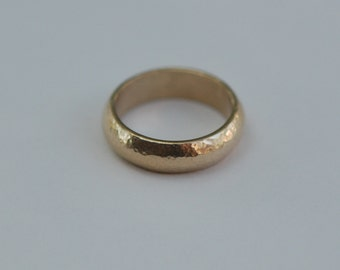 Male Wedding band-6mm  Hammered Yellow Gold Domed Comfort Fit Wedding Band