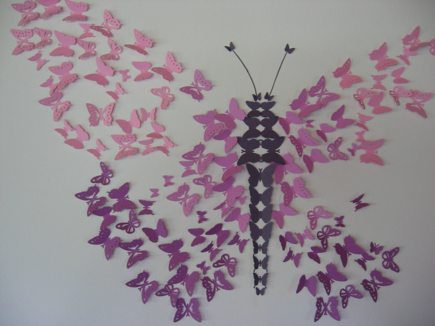 3D Butterfly Ombre Wall Art Mauve tones by artlandish on Etsy