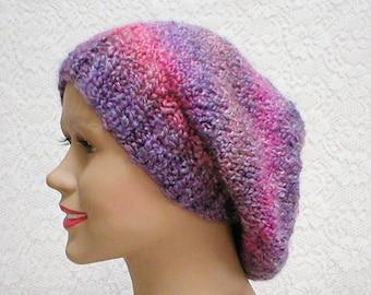 Slouchy hat, purple pink grey, striped hat, ski snowboard, winter hat, knit toque, slouchy beanie, womens hat, chemo cap, hiking toboggan