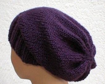 Dark purple slouchy hat, slouchy beanie, purple hat, knit toque, winter hat, ski snowboard hat, skateboard hat, mens womens hat, chemo cap