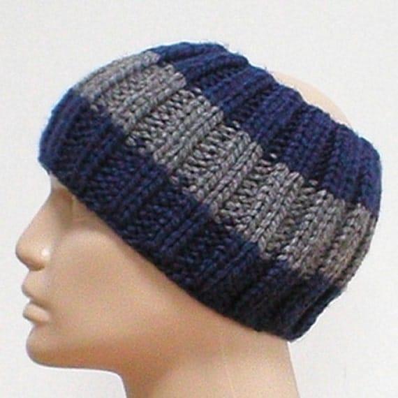 Mens ribbed knit headband charcoal grey navy by taschekats