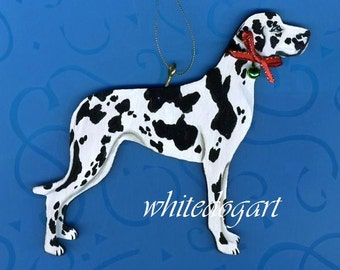 Uncropped Harlequin Great Dane Christmas Ornament