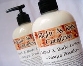 Handmade Body Lotion, Ginger Pomelo scent, Vegan, 8 oz Bottle