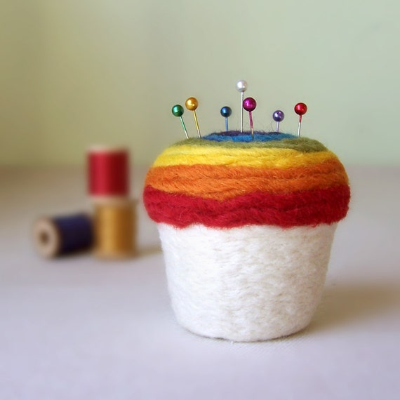 Cupcake Pincushion - Felted Wool, Rainbow Top