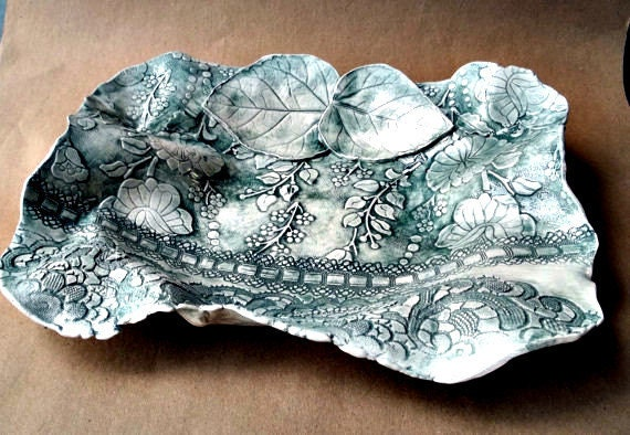 Ceramic Forest Green Damask Bowl