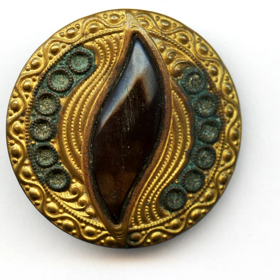 Victorian Brass Jewel Button Huge  Shabby Antique  circa 1900 Celluloid Center 1 1/2 inch size 8162