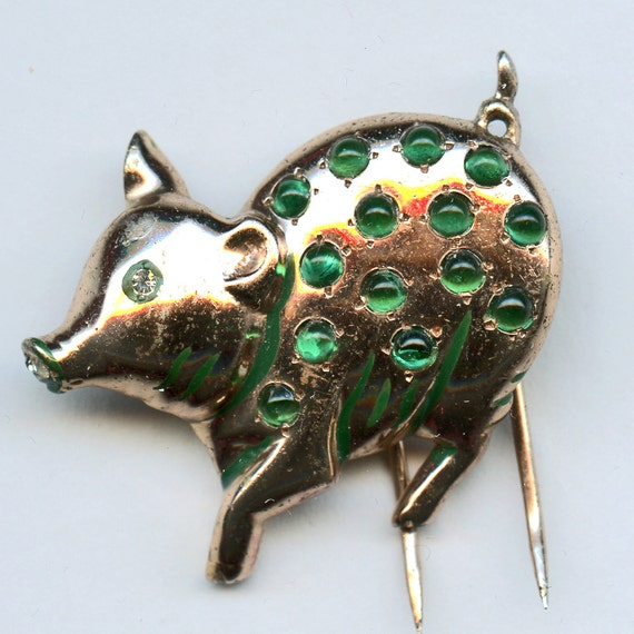 NETTIE ROSENSTEIN Pig Fur Clip 1940's STERLING Signed Marked With Green Stones 8166a