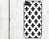 iphone 6 case Black & White Fleur de Lis iPhone Case - Cell Phone Case - iPhone 5 Case - iPhone 4,4s