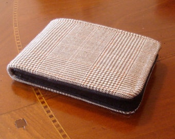 Men's wallet cashmere wallet, brown houndstooth,  plaid wallet, 7 pocket billfold, black water resistant lining