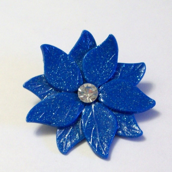 clearance sale was 4.95: Glittered cobalt poinsettia Brooch