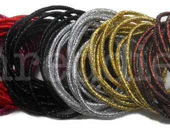 36 ponytail elastics // metallic // PICK YOUR COLOR - snag free - super shiny / gold, silver, black, brown, pink or red