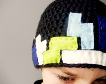 Video Game Crochet Hat -Tetris Beanie in Black with Lime, Sky and Navy Blue, and White Felt for Baby / Toddler / Boy / Girl / Man / Woman