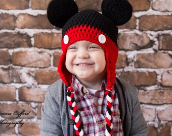 Crochet Hat- Mickey Mouse Hat in Black and Red with Ears and Braids for Baby / Toddler / Boy / Girl / Man / Woman
