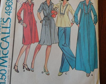 Vintage 70s McCalls 4969 Misses Boho Dress or Top pattern sz 8 B31.5 uncut