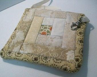 Quilted Little Case Log Cabin Quilt Block,  beige, cream, tan, gray, pumpkin orange, zipper pouch, vendor bag, money pouch