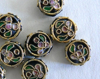 SALE 13 10x4mm Handmade Cloisonne Beads Gold Plated Brass Flower Jewlwry Round Flat b2816 1