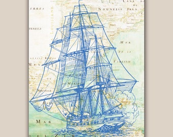 Blue frigate sailboat Print, 11X14 print, old map Mexico golf print,  Beach Nautical art, Coastal Living